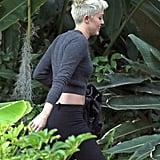 Miley Cyrus walked to the recording studio.