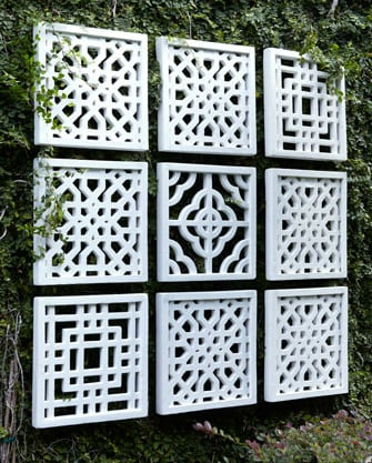 Hang these Nine Geometric Fretwork Wall Decor Panels ($675) indoor or out — they'll stand up to the weather.
