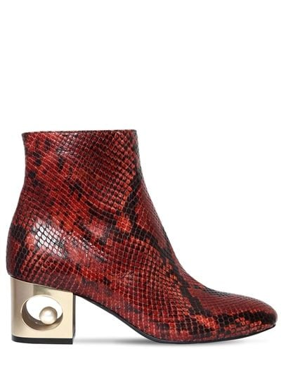 Coliac Tiffany Snake Printed Leather Boots