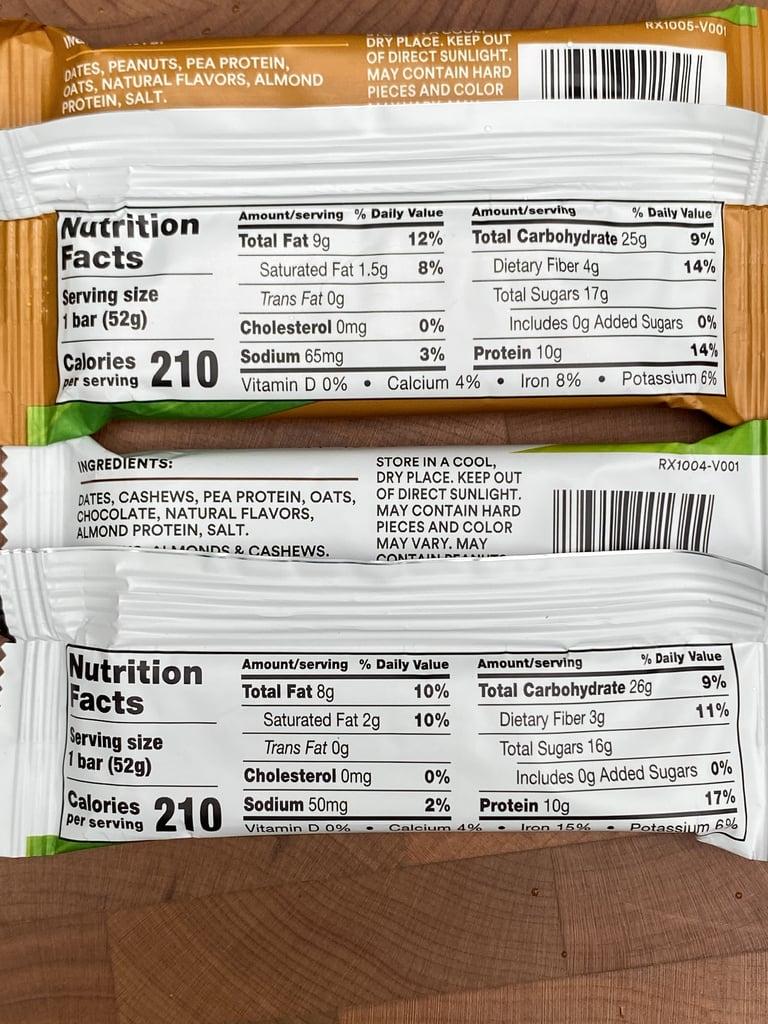RXBar Plant Protein Bar Nutritional Information