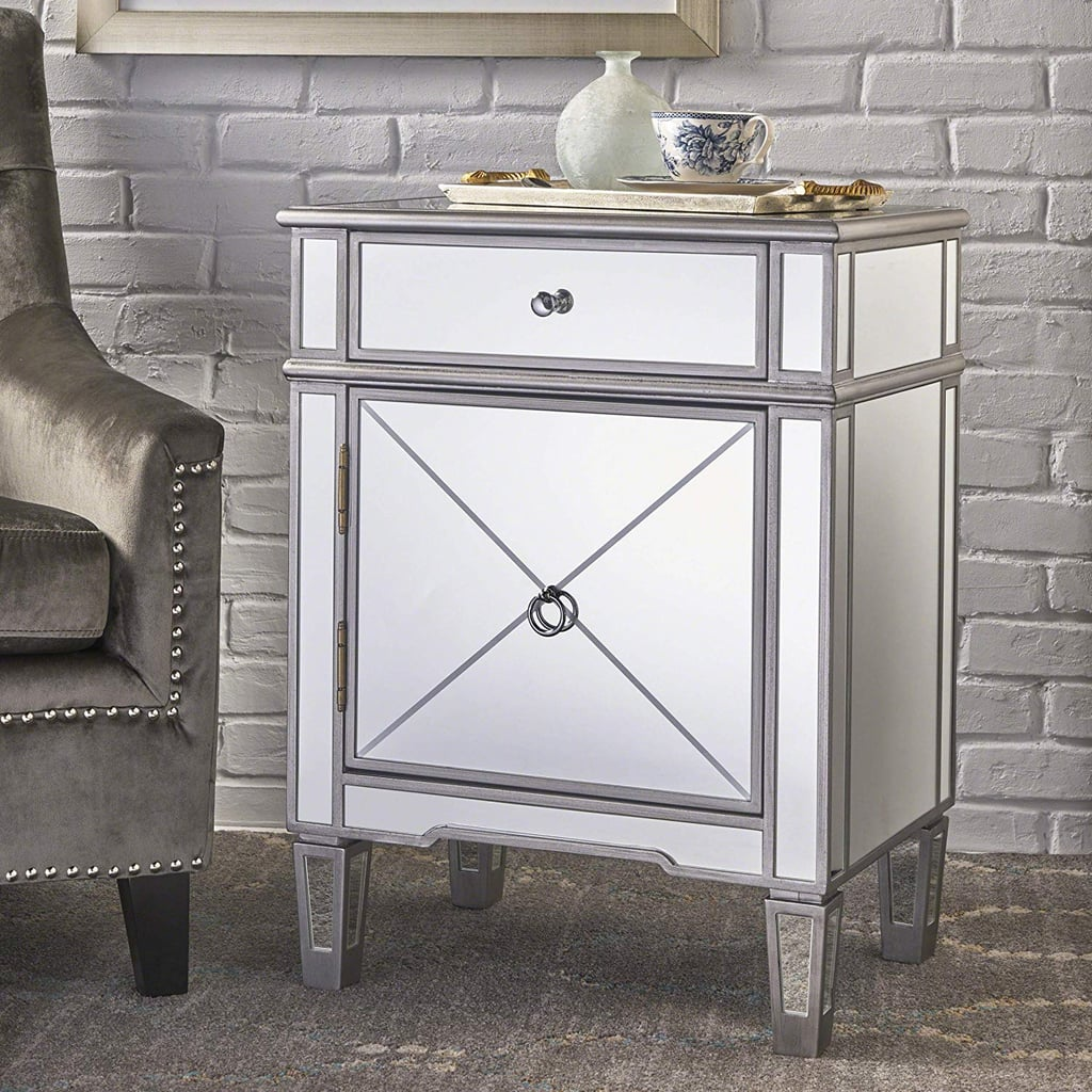Silver Finished Mirrored Two-Drawer Cabinet