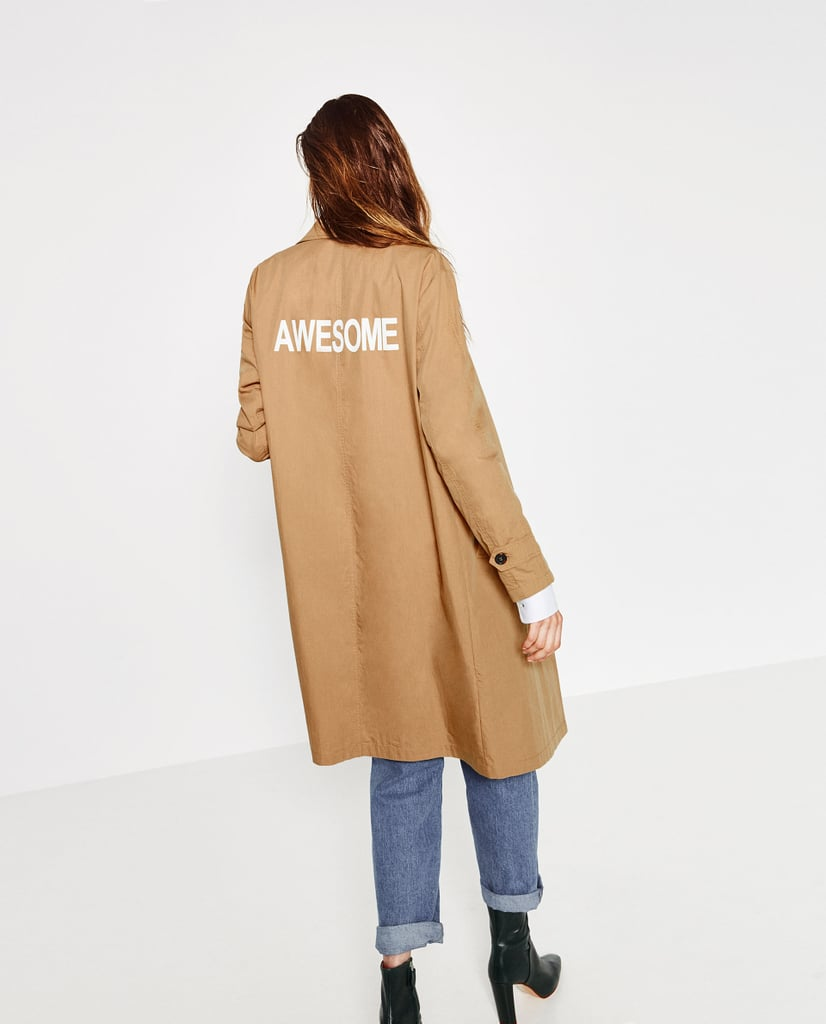 معطف زارا المطري الطويل ($100)