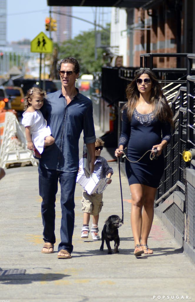 Matthew McConaughey took a midday stroll through NYC yesterday with pregnant Camila Alves, kids Levi and Vida, and their new pup. The family of four are spending time on the East Coast while Matthew prepares to share the big screen with Leonardo DiCaprio. The Hollywood heartthrobs have been tapped to costar in Martin Scorsese's Wolf of Wall Street. Cameras started rolling on Saturday with Martin behind the lens and Leo sharing a kissing scene with a lucky actress. For his part, Matthew's been cast as Leo's boss, a day trader who mentors Leo's character, Jordan Belfort. The film is based on a book by the same name, and while Leo's been tied to the project since 2010, Matthew only signed on earlier this month.