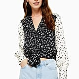 Topshop Mix Ditsy Tie Front Blouse