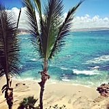 Lea was surrounded by blue skies and water in Mexico.  Source: Instagram user msleamichele