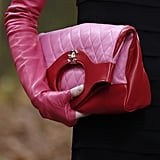Models Wore Pink Leather Gloves