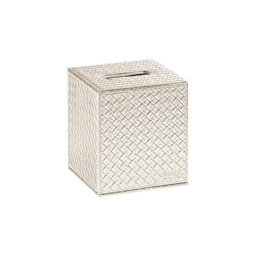 Dress up your desk space with the sleek, streamlined Gedy by Nameeks Marrakech Tissue Box Cover ($49) in silver, gold, or pearl.