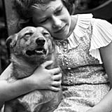 A young Princess Elizabeth snuggled with one of her first Corgis back in 1936.