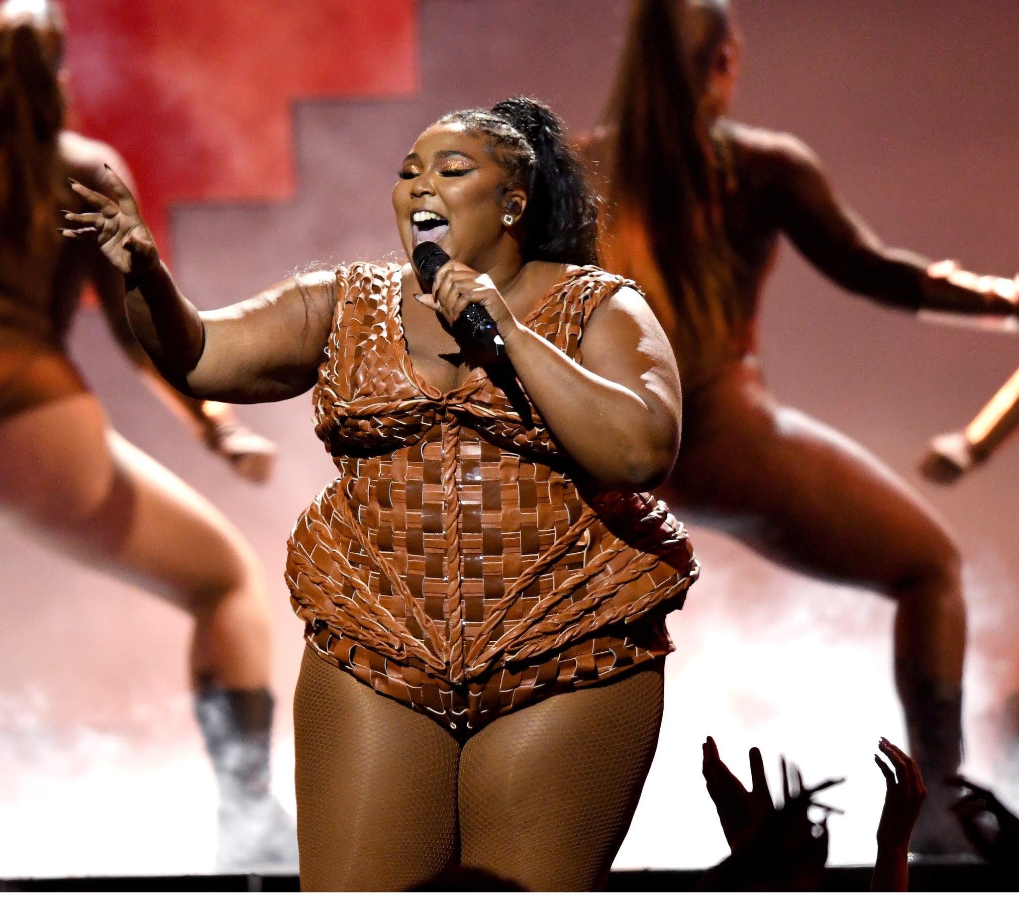 LONDON, ENGLAND - FEBRUARY 18: (EDITORIAL USE ONLY) Lizzo performs during The BRIT Awards 2020 at The O2 Arena on February 18, 2020 in London, England. (Photo by Karwai Tang/WireImage)