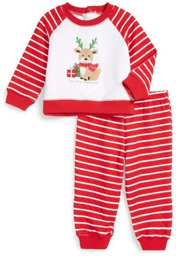 Little Me 'My First Christmas' Quilted Sweatshirt & Pants