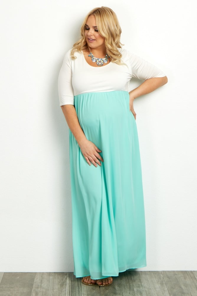 Colorblock Dress Plus Size Maternity Dresses Popsugar Moms Photo 1