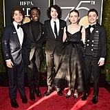 The Stranger Things squad — Gaten Matarazzo, Caleb McLaughlin, Finn Wolfhard, Sadie Sink, and Noah Schnapp — were dressed to the nines at the 2018 ceremony.