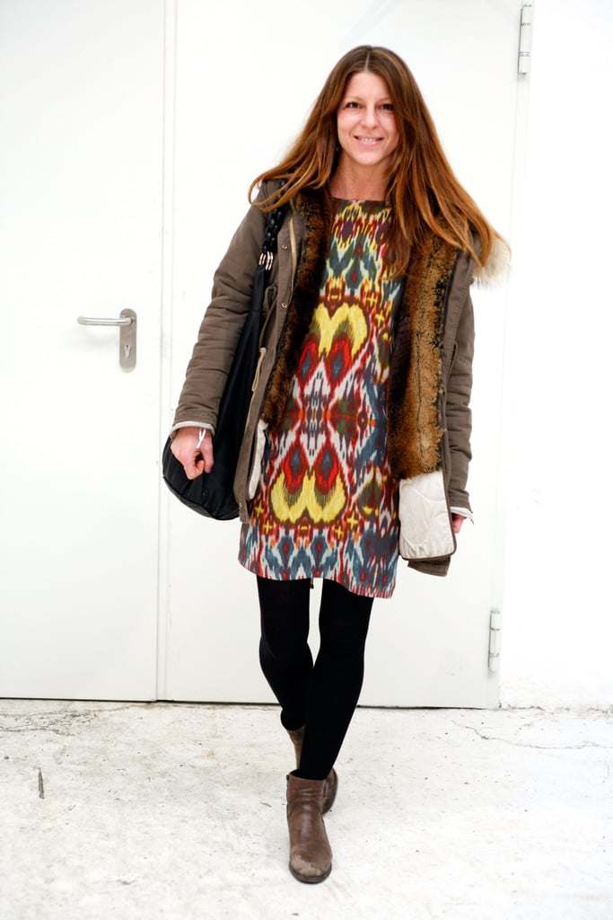 A bright ikat dress is always seasonal with the right outerwear and tights.