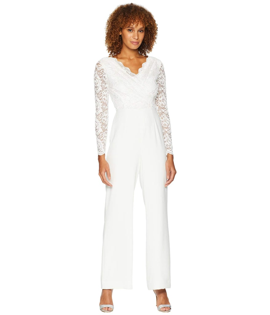 Tahari by ASL Long Sleeve Crepe/Sequin Lace Jumpsuit with V-Neckline