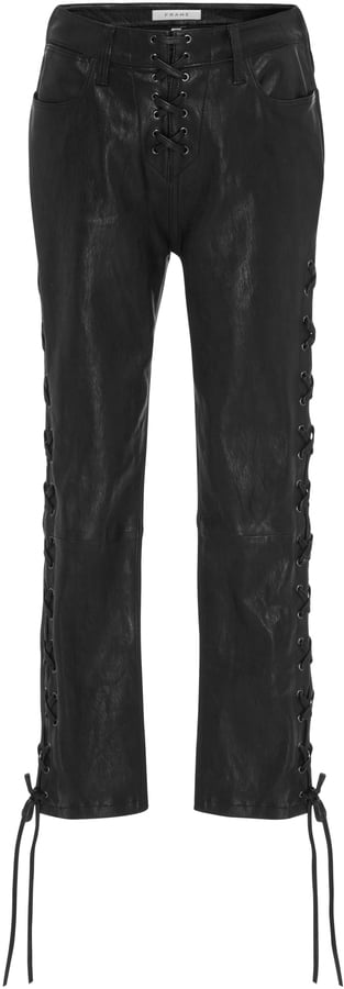 Frame Cropped Lace-Up Leather Pants