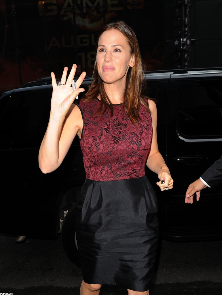 Jennifer Garner waved as she arrived at Good Morning America.