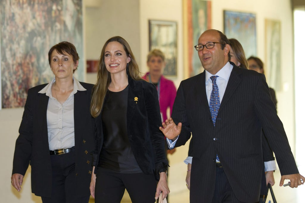 Angelina Jolie acted as a Goodwill Ambassador at the UN in Geneva, Switzerland.