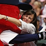 In June 2007, Jennifer Garner got cozy with a mascot.