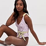 ASOS Design Tall Recycled Tie Shoulder Belted Swimsuit