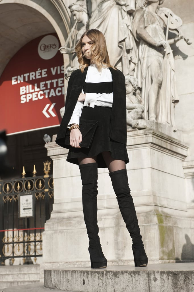 Black and white tell a sleek story, but those boots are totally sexy.