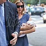 Ivanka Trump arrives home with her new baby.