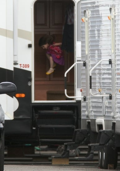 Suri having fun in her dad's trailer