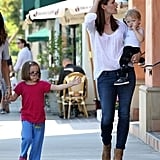 Jennifer Garner toted along Samuel and Seraphina for a hair salon visit on Tuesday.
