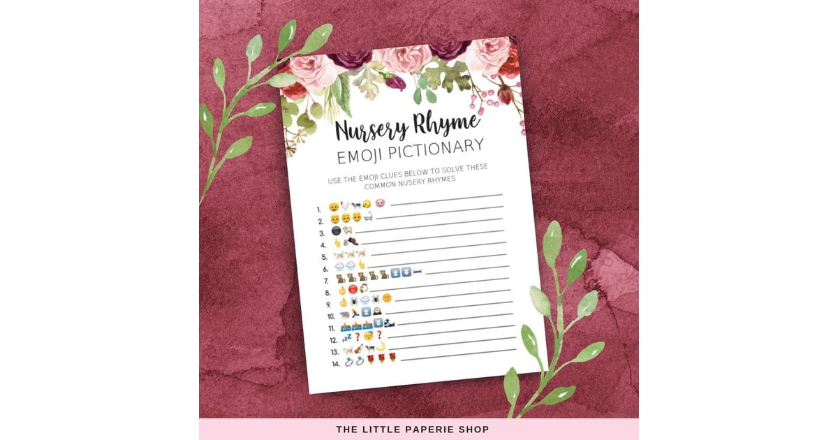 photo relating to Printable Emoji Games called Emoji Nursery Rhyme Printable Quiz Printable Child Shower