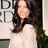Jessica Biel in a lace dress at the 2012 Golden Globe Awards.