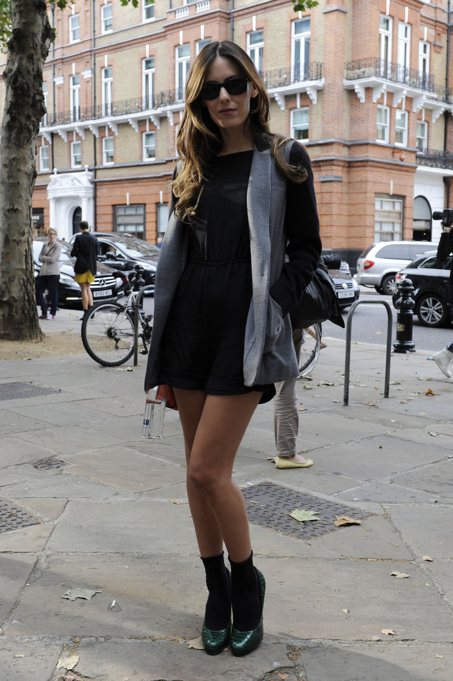 A sexier mini hemline got a sweet counterpart with socks and pumps.