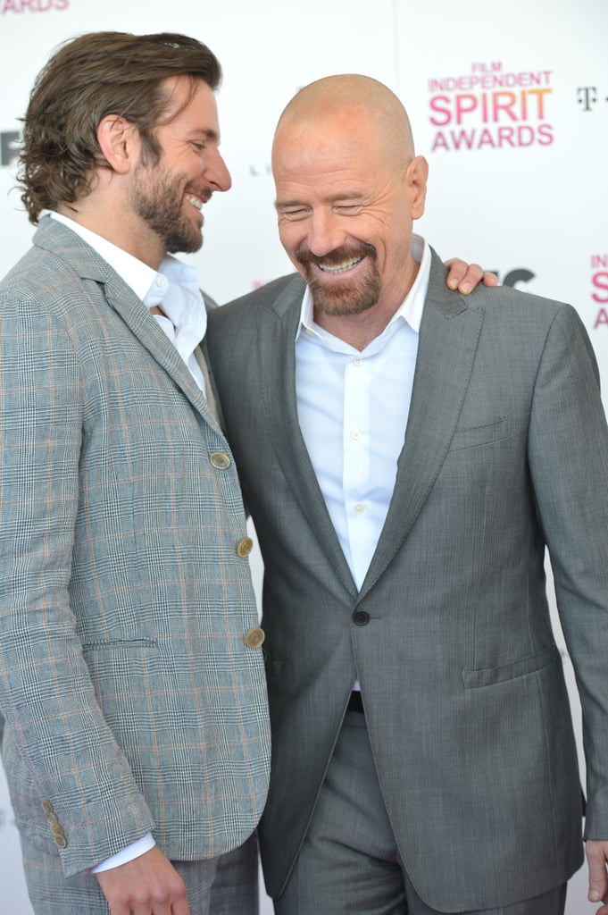Bradley Cooper and Bryan Cranston on the red carpet at the Spirit Awards 2013.