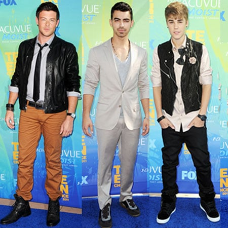 Pictures of Justin Bieber, Taylor Lautner, Joe Jonas and Cory Monteith at 2011 Teen Choice Awards
