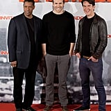 Ryan Reynolds posed with costar Denzel Washington and Safe House director Daniel Espinosa.