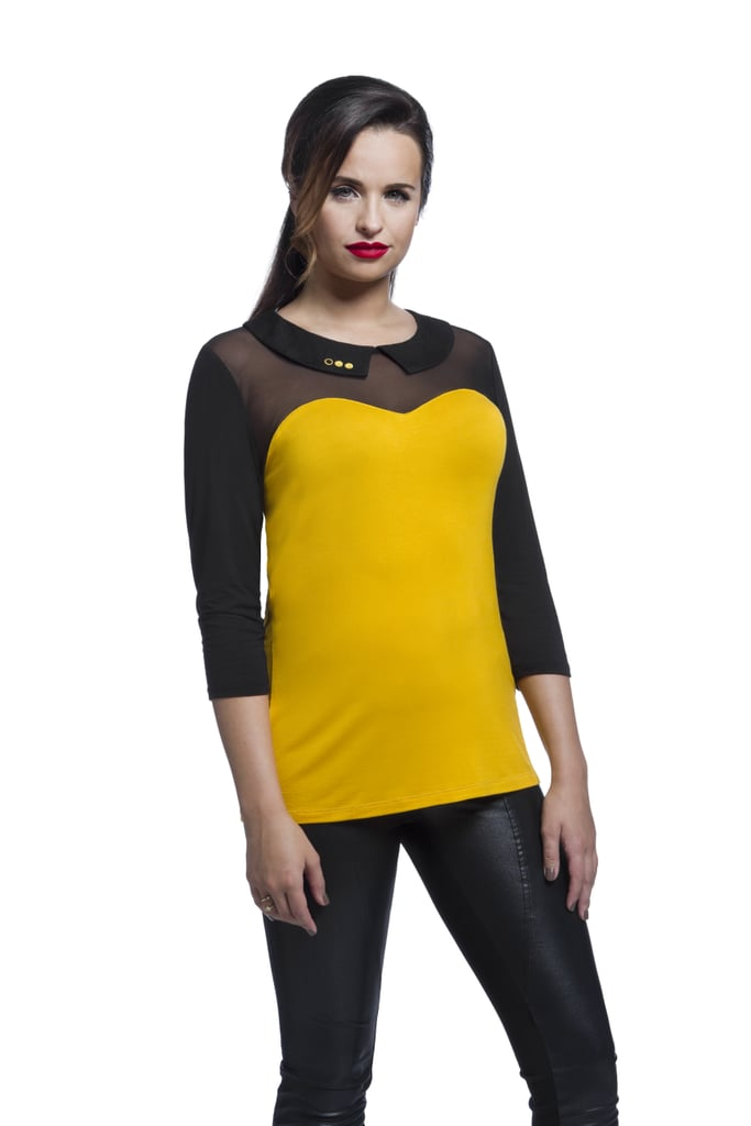 Star Trek TNG Mesh-Top Collar Tee — Gold ($40)