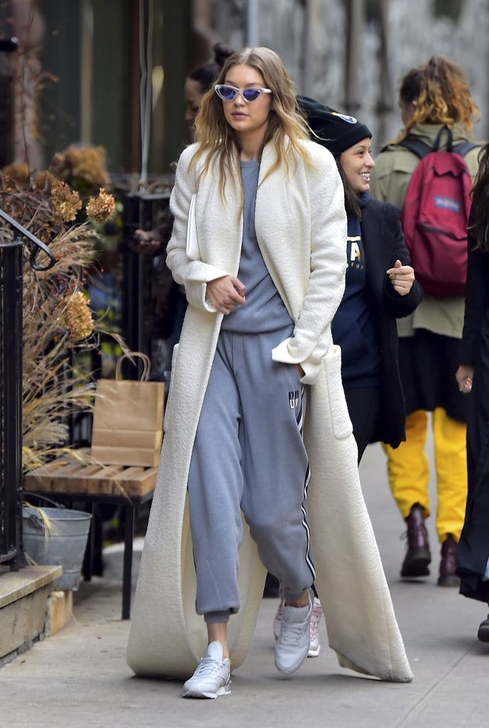 Even sweatpants look chic with a long duster thrown over top.