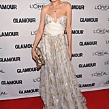 Petra Nemcova went the most glamorous route in a corseted, metallic-flecked strapless gown.