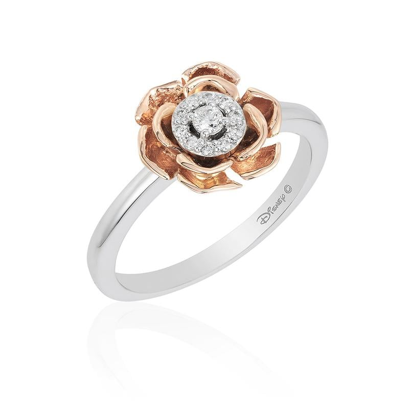 """خاتم وردة """"الجميلة والوحش"""" الشهيرة، من الذهب الأبيض والذهب الوردي عيار 14 قيراط (649$ دولار أمريكي؛ 2,384 درهم إماراتي/ريال سعودي)"""