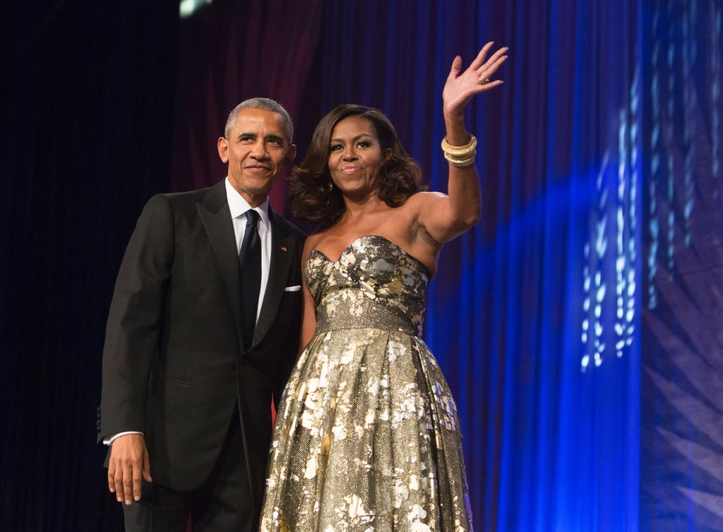 """Barack and Michelle Obama made a dazzling appearance when they arrived at the Congressional Black Caucus Foundation Annual Phoenix Awards dinner in Washington, DC, on Saturday evening. Dressed in a gold Naeem Khan gown, the first lady practically floated across the stage as she waved to the audience and escorted her husband, who was on hand to deliver the event's keynote address. The best part, though, might have been when Barack gestured toward Michelle and gave her a sweet shout-out, saying, """"I've been so blessed to have a wife and a partner on this journey who makes it look so easy and is so strong and so honest and so beautiful and so smart."""" We will definitely be adding this to the duo's long list of cute moments as America's first couple.      Related:                                                                This Photo of Barack and Michelle Obama Will Make You Believe in Love                                                                   8 Photos That Show How Much the Obama Family Has Changed in 8 Years                                                                   12 Times Michelle and Barack Obama Made Us Believe in Love"""