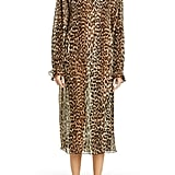 Ganni Leopard-Print Sheer Georgette Long-Sleeve Midi Dress