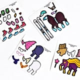 The stickers include a ski outfit, a tutu, a superhero costume, and sneakers for every occasion, because who knows what sorts of activities this unicorn has on its agenda?