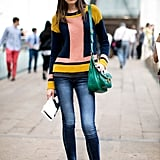 A colorblocked sweater to kick her denim up a notch.