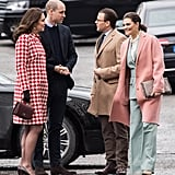 Both Kate and Prince William stand above Crown Princess Victoria of Sweden and Prince Daniel of Sweden.