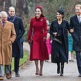 Charles, Harry, and Meghan were all smiles as they attended Christmas service with Prince William and Kate Middleton in 2018.
