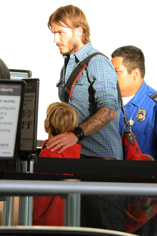 Pictures of David Beckham and the Boys at LAX