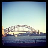 The Sydney Harbour Bridge, showing off on a warm and sunny Autumn day. We love her.