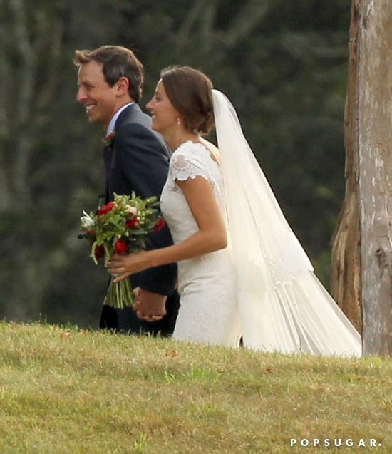 Seth Meyers held hands with his bride, Alexi Ashe, at their Martha's Vineyard wedding ceremony.