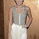 Miley Cyrus wore a cream skirt and studded top for the LA gala.