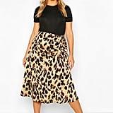 Plus Leopard Print Satin Ruched Asymmetric Skirt