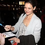 Katie Holmes signed autographs for fans outside of her Broadway show.