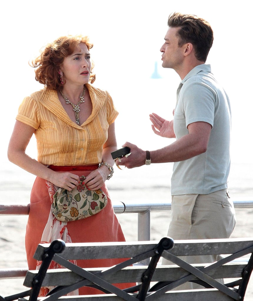 Justin Timberlake and Kate Winslet were spotted filming what appeared to be a pretty intense scene for Woody Allen's untitled new project in Brooklyn on Wednesday. The actors looked to be having a heated argument for the cameras at Coney Island, and took direction from Woody between shots. The film, which is reportedly a romantic drama set in the 1950s, stars Justin and Kate along with English actress Juno Temple. Not only did Justin show off his legs for a rainy day on the beach last week, but we also got a glimpse of his toned arms as he sported an old-timey lifeguard costume on the job earlier this month. Between his return to acting and his upcoming Netflix documentary, Justin's year is shaping up to be a busy one.